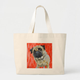 Pug 0range large tote bag