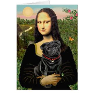 Pug 16 (black) - Mona Lisa Card