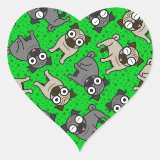 Pug-a-Dot (Green) Heart Stickers