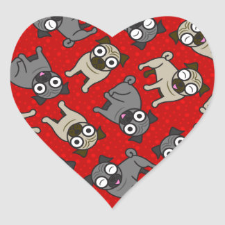 Pug-a-Dot (Red) Heart Sticker