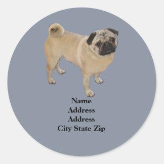 Pug Address Label Round Sticker