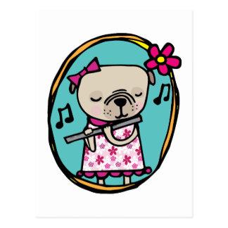 Pug and Flute Postcard