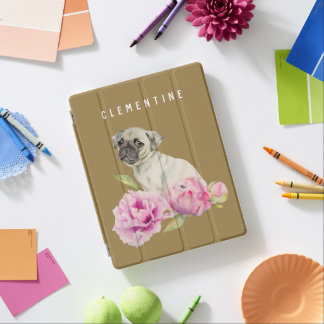 Pug and Peonies | Add Your Name iPad Cover