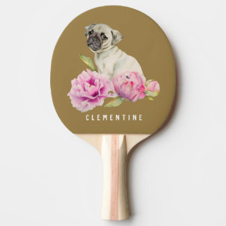 Pug and Peonies | Add Your Name Ping Pong Paddle
