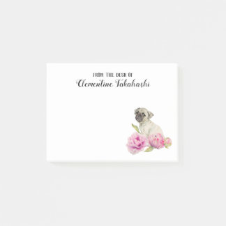 Pug and Peonies | Add Your Name Post-it Notes