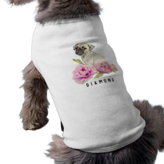 Pug and Peonies | Add Your Pet's Name Shirt