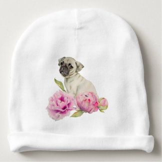 Pug and Peonies | Watercolor Illustration Baby Beanie