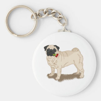Pug and Roses Fawn Pug Dog Themed Basic Round Button Key Ring