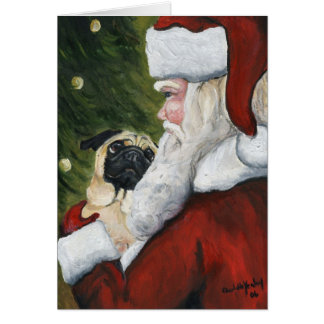 """Pug and Santa"" Dog Art Christmas Card"