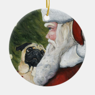 Pug and Santa Dog Art Ornament