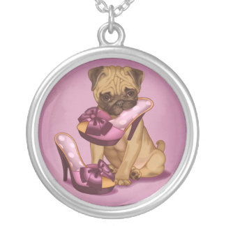 Pug and Shoe Silver Plated Necklace