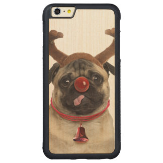 Pug antlers - christmas pug - merry christmas carved maple iPhone 6 plus bumper case