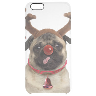 Pug antlers - christmas pug - merry christmas clear iPhone 6 plus case