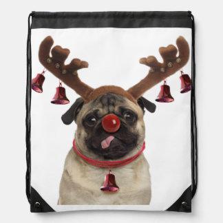 Pug antlers - christmas pug - merry christmas drawstring bag