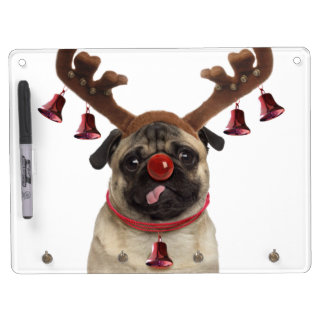 Pug antlers - christmas pug - merry christmas dry erase board with key ring holder