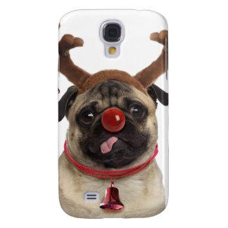 Pug antlers - christmas pug - merry christmas galaxy s4 case