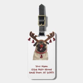 Pug antlers - christmas pug - merry christmas luggage tag