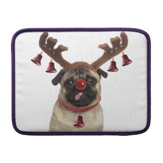 Pug antlers - christmas pug - merry christmas MacBook sleeve