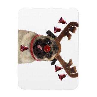 Pug antlers - christmas pug - merry christmas magnet