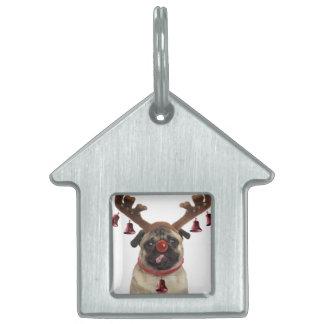 Pug antlers - christmas pug - merry christmas pet ID tag