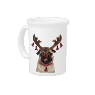 Pug antlers - christmas pug - merry christmas pitcher