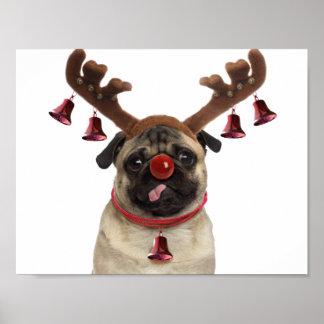 Pug antlers - christmas pug - merry christmas poster