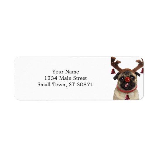 Pug antlers - christmas pug - merry christmas return address label