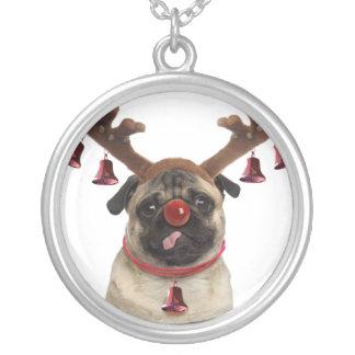 Pug antlers - christmas pug - merry christmas silver plated necklace