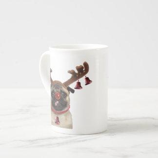 Pug antlers - christmas pug - merry christmas tea cup