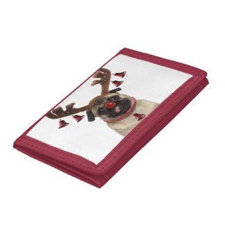 Pug antlers - christmas pug - merry christmas trifold wallet
