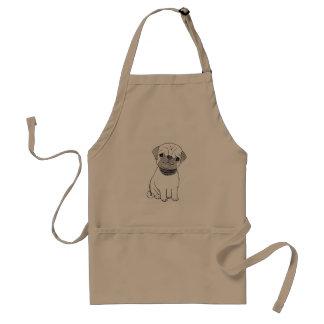 Pug Apron Cute Pug Dog Ink Art Apron Gift for Him