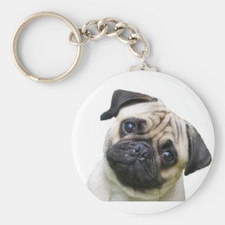 pug basic round button key ring