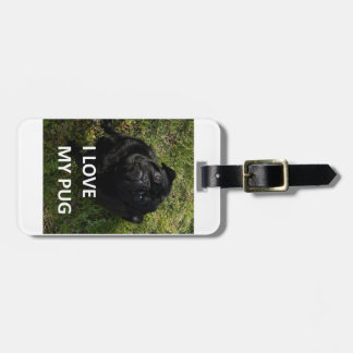 pug black love w pic luggage tag