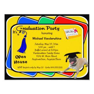 Pug Blue Graduation Party Invitations