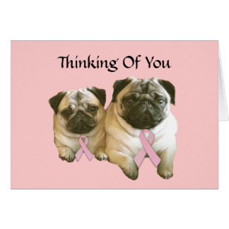 Pug  Breast Cancer Greeting Card