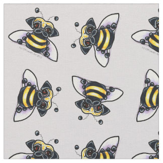 Pug Bumble Bees Lilac Gray Fabric