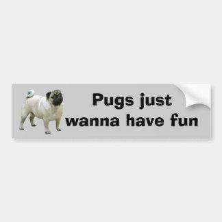 Pug Bumper Sticker Car Bumper Sticker