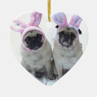 Pug bunny's ceramic ornament