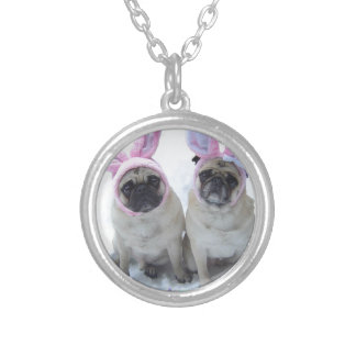 Pug bunny's silver plated necklace
