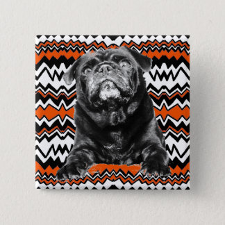 PUG BUTTON Orange, Black & White RAD ZAG