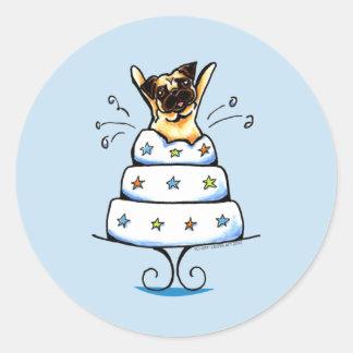 Pug Cake Trick Round Sticker