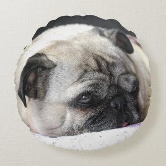Pug Carlin Pug - by Jean Louis Glineur Round Cushion