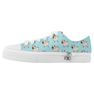 Pug Cartoon Dog Photo Pattern Low Tops