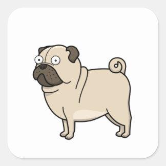 pug cartoon full square sticker