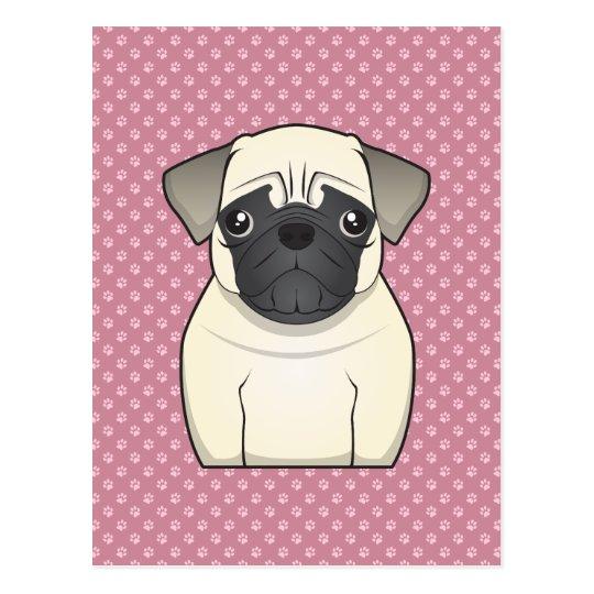 Pug Cartoon Postcard