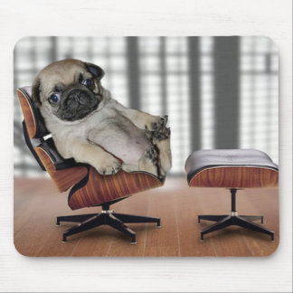 Pug chilling in a recliner chair. mouse pad