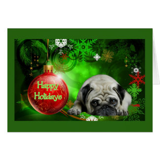 Pug Christmas Card Red Ball