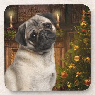 Pug Christmas Coasters