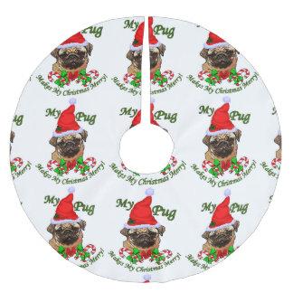 Pug Christmas Merry Brushed Polyester Tree Skirt