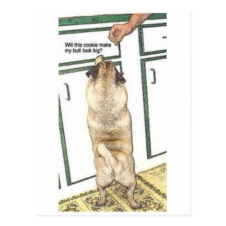 Pug Cookie Butt Postcard